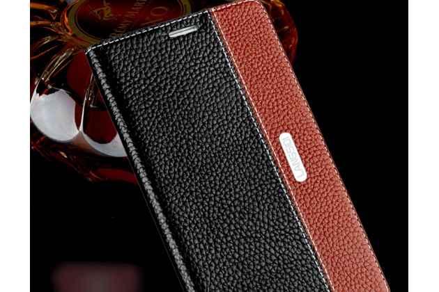 Фирменный премиальный чехол-книжка из качественной импортной кожи с мульти-подставкой и визитницей для Motorola Moto G4 Plus (XT1642) 5.5 черно-коричневый