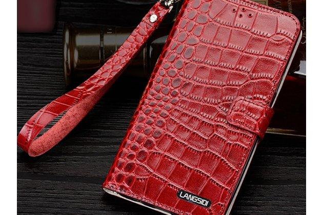 Фирменный роскошный эксклюзивный чехол с фактурной прошивкой рельефа кожи крокодила и визитницей красный для Motorola Moto G4 Plus (XT1642) 5.5. Только в нашем магазине. Количество ограничено