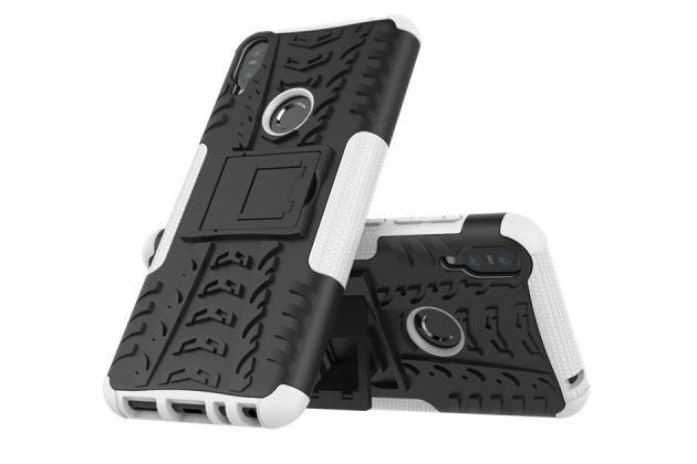 Противоударный усиленный ударопрочный фирменный чехол-бампер-пенал для Asus Zenfone Max Pro (ZB602KL /ZB601KL) белый