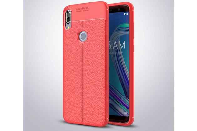 Фирменная премиальная элитная крышка-накладка на Asus Zenfone Max Pro (ZB602KL) красная из качественного силикона с дизайном под кожу
