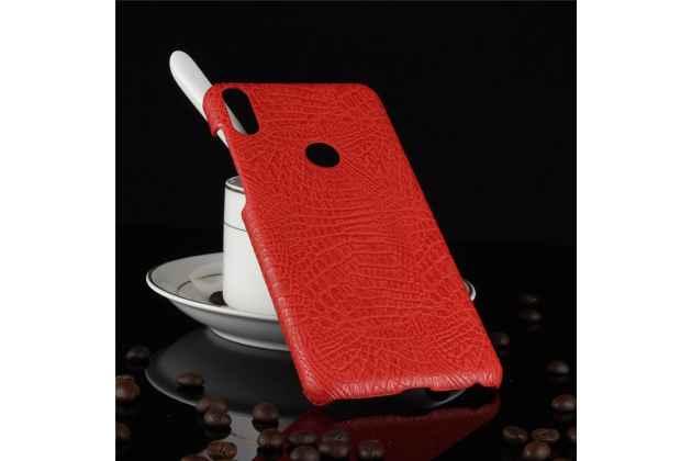 Фирменная роскошная элитная премиальная задняя панель-крышка на пластиковой основе обтянутая лаковой кожей крокодила  для Asus Zenfone Max Pro (ZB602KL /ZB601KL) красный