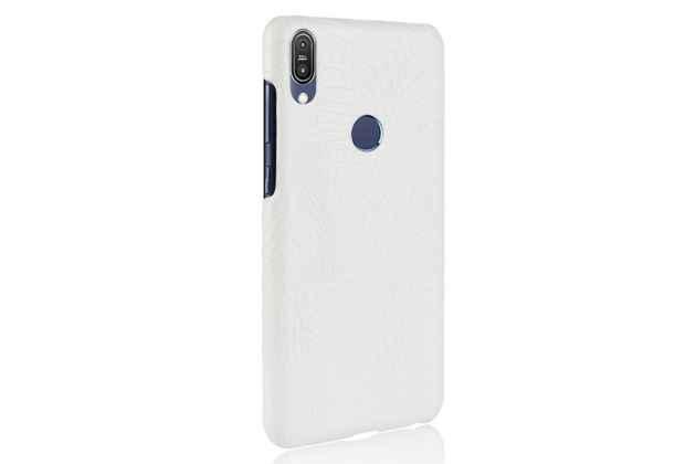 Фирменная роскошная элитная премиальная задняя панель-крышка на пластиковой основе обтянутая лаковой кожей крокодила  для Asus Zenfone Max Pro (ZB602KL /ZB601KL) белый
