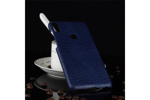 Фирменная роскошная элитная премиальная задняя панель-крышка на пластиковой основе обтянутая лаковой кожей крокодила  для Asus Zenfone Max Pro (ZB602KL /ZB601KL) синий