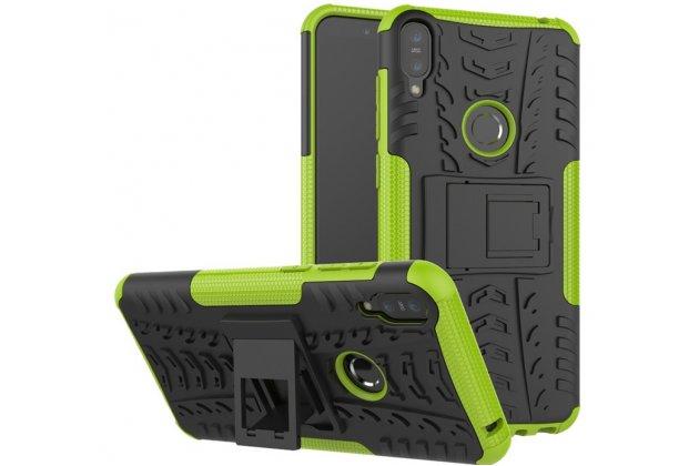 Противоударный усиленный ударопрочный фирменный чехол-бампер-пенал для Asus Zenfone Max Pro (ZB602KL /ZB601KL) зеленый