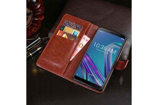 Фирменный чехол-книжка из качественной импортной кожи с подставкой застёжкой и визитницей для Asus Zenfone Max Pro (ZB602KL /ZB601KL) коричневый