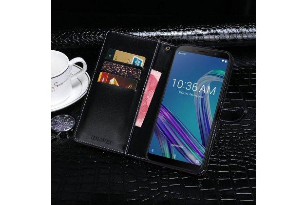 Фирменный роскошный эксклюзивный чехол с фактурной прошивкой рельефа кожи крокодила и визитницей черный для Asus Zenfone Max Pro (ZB602KL). Только в нашем магазине. Количество ограничено