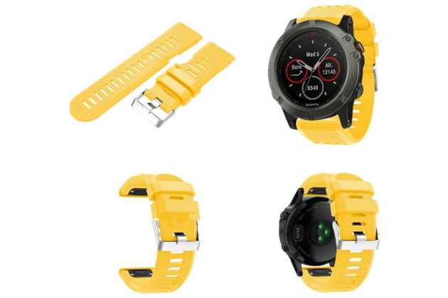 Фирменный сменный яркий цветной силиконовый ремешок для умных смарт-часов Garmin Fenix 3/ Fenix 3 HR/HRM
