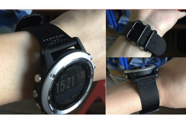 Фирменный сменный тканевый ремешок для умных смарт-часов Garmin Fenix 3/ Fenix 3 HR/HRM из ультра-прочного плотного качественного нейлона с дизайном «Спорт»