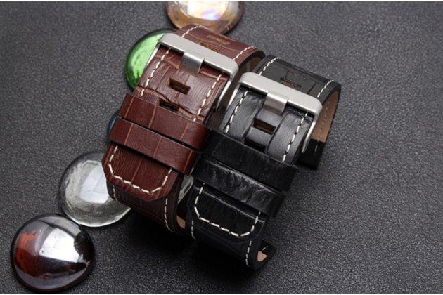 Фирменный сменный кожаный ремешок для умных смарт-часов Garmin Fenix 3/ Fenix 3 HR/HRM с дизайном кожи крокодила черного цвета