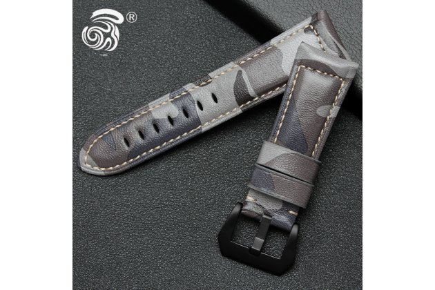 Фирменная премиальный элитный ремешок из качественной импортной кожи для Garmin Fenix 3/ Fenix 3 HR/HRM с дизайном «Хаки-Камуфляж»