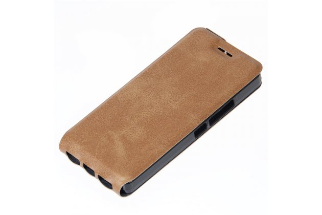 Фирменный оригинальный вертикальный откидной чехол-флип для BQ Aquaris A4.5 16Gb 1Gb RAM/A4.5 16Gb 2Gb RAM коричневый из натуральной кожи Prestige