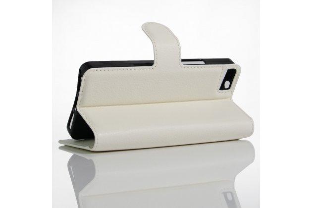 Фирменный чехол-книжка из качественной импортной кожи с подставкой застёжкой и визитницей для BQ Aquaris A4.5 16Gb 1Gb RAM/A4.5 16Gb 2Gb RAM белый