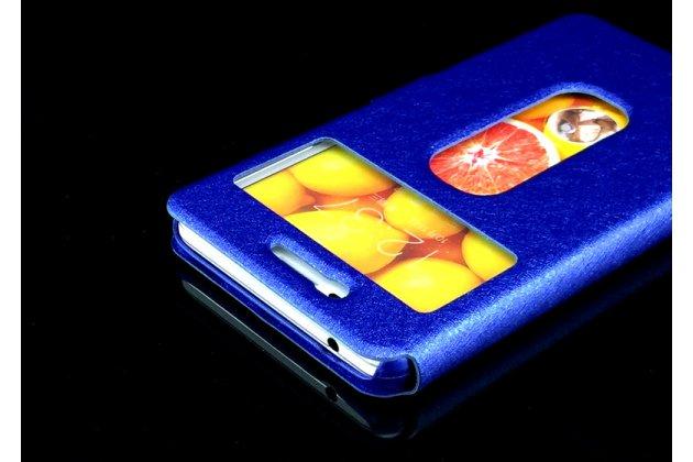 Фирменный чехол-книжка для Lenovo K6/ K6 Power 5.0 синий с окошком для входящих вызовов и свайпом водоотталкивающий