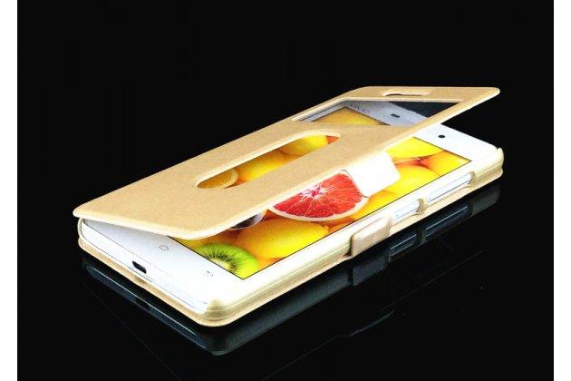 Фирменный чехол-книжка для Lenovo K6/ K6 Power 5.0 золотой с окошком для входящих вызовов и свайпом водоотталкивающий