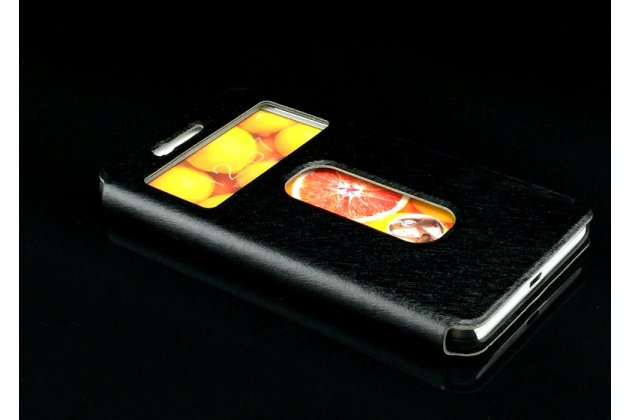 Фирменный чехол-книжка для Lenovo K6/ K6 Power 5.0 черный с окошком для входящих вызовов и свайпом водоотталкивающий