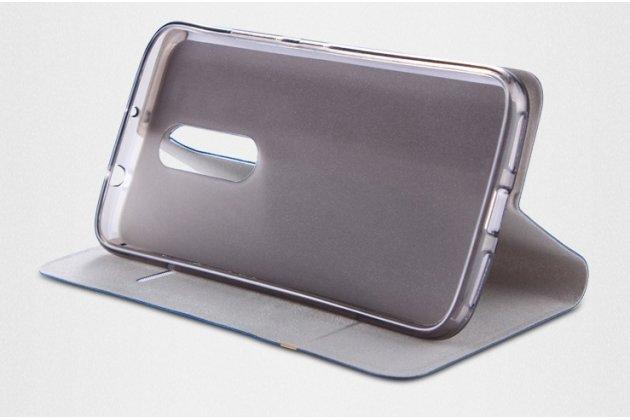 Фирменный чехол-книжка из качественной импортной кожи с мульти-подставкой и визитницей для Lenovo K6/ K6 Power 5.0 с полосой синий