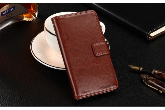 Фирменный чехол-книжка из качественной импортной кожи с подставкой застёжкой и визитницей для BQ BQS-5040 Force / BQ Mobile BQS-5040 Force коричневый