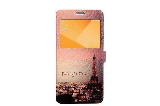 Фирменный уникальный необычный чехол-подставка для Samsung Galaxy C5 Pro / Galaxy C5 2017 (SM-C5010) тематика Париж с окошком для входящих вызовов