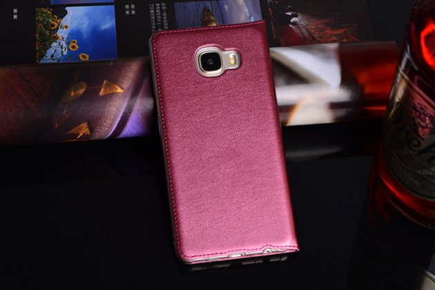Фирменный чехол-книжка для Samsung Galaxy C5 Pro / Galaxy C5 2017 (SM-C5010) вишневый с окошком для входящих вызовов и свайпом водоотталкивающий