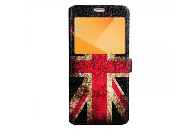 Фирменный уникальный необычный чехол-подставка для Samsung Galaxy C5 Pro / Galaxy C5 2017 (SM-C5010) тематика Британский флаг с окошком для входящих вызовов