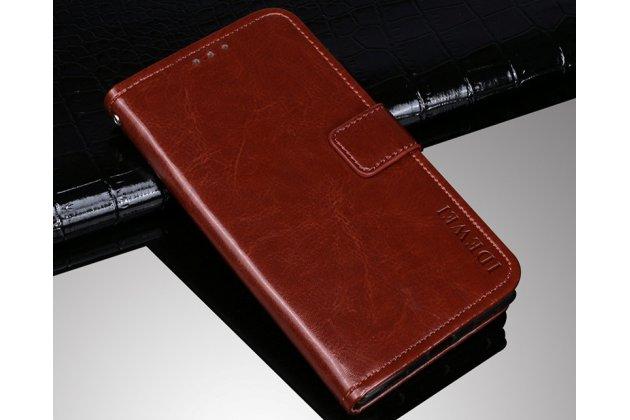 Фирменный чехол-книжка из качественной импортной кожи с подставкой застёжкой и визитницей для BQ BQS-5520 Mercury / BQ Mobile BQS-5520 Mercury  коричневый