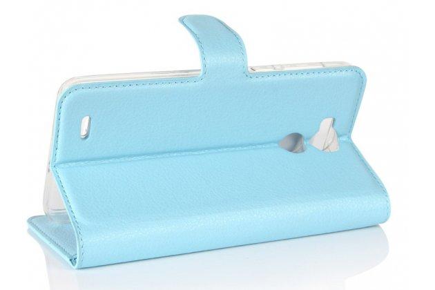 Фирменный чехол-книжка из качественной импортной кожи с подставкой застёжкой и визитницей для Blackview R6 голубой