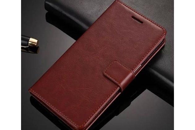 Фирменный чехол-книжка из качественной импортной кожи с подставкой застёжкой и визитницей для Oppo A57 коричневый