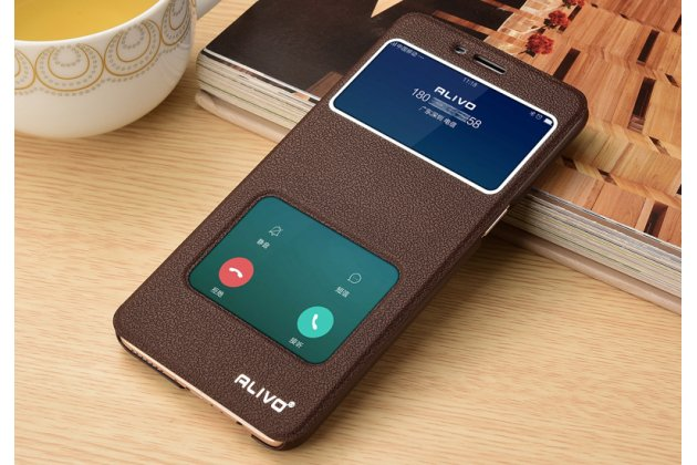Фирменный чехол-книжка для Oppo A57 коричневый с окошком для входящих вызовов и свайпом водоотталкивающий