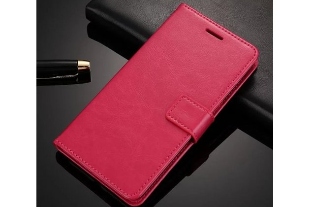 Фирменный чехол-книжка из качественной импортной кожи с подставкой застёжкой и визитницей для Oppo A57 розовый