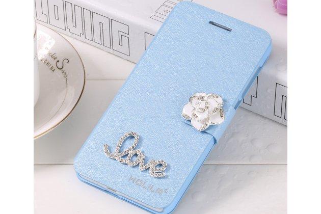 Фирменный роскошный чехол-книжка безумно красивый декорированный бусинками и кристаликами на Oppo A57 голубой