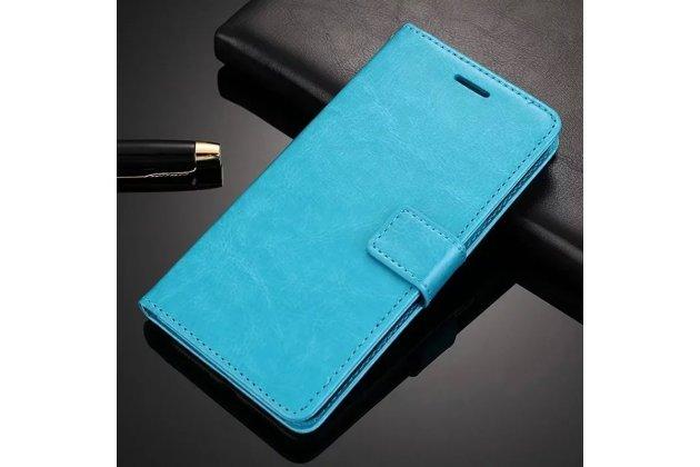 Фирменный чехол-книжка из качественной импортной кожи с подставкой застёжкой и визитницей для Oppo A57 голубой