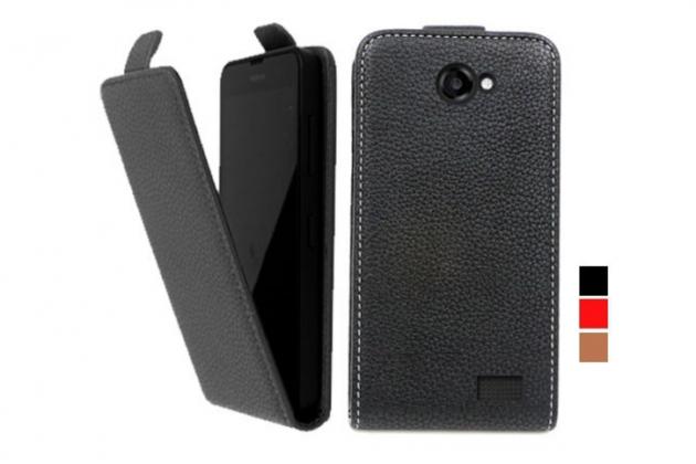 Фирменный оригинальный вертикальный откидной чехол-флип для Highscreen WinWin черный из натуральной кожи Prestige