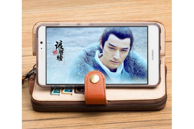 Фирменный чехол-портмоне-клатч-кошелек на силиконовой основе из качественной импортной кожи для Lenovo Phab 2 Pro PB2-690N черный
