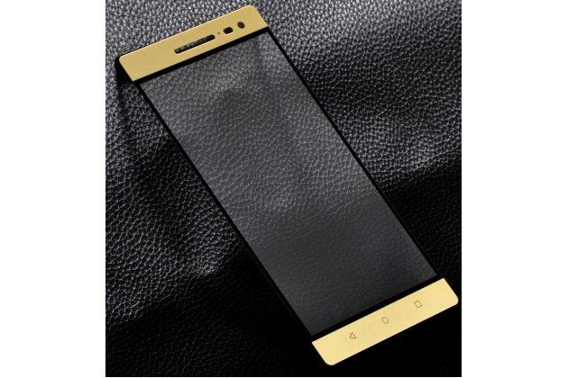 Фирменное 3D защитное изогнутое стекло с закругленными изогнутыми краями которое полностью закрывает экран / дисплей по краям с олеофобным покрытием для Lenovo Phab 2 Pro PB2-690N золотое
