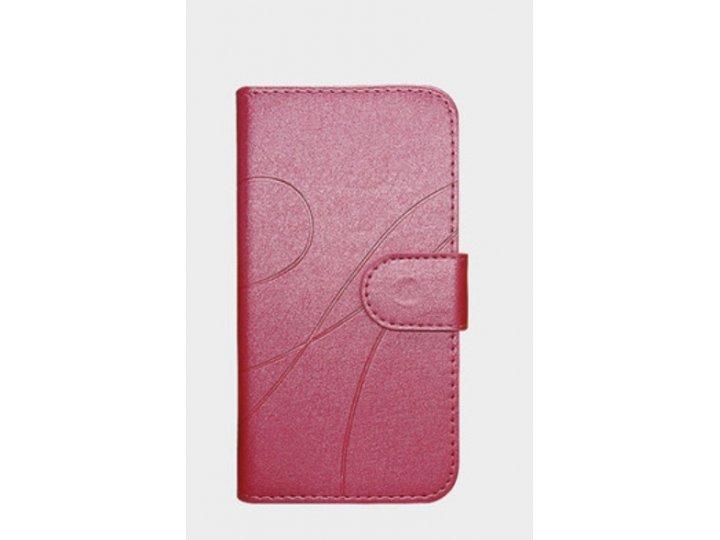 Фирменный чехол-книжка для Alcatel A3 5046D 5.0 розовый водоотталкивающий..