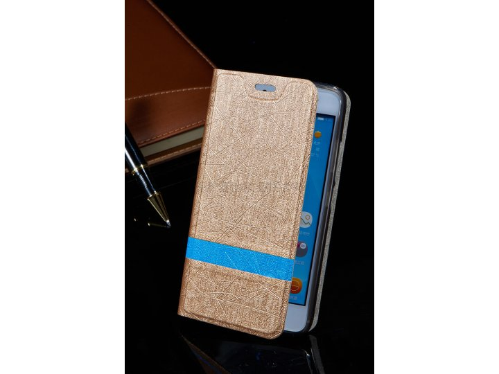 Фирменный чехол-книжка для Alcatel A3 5046D 5.0 золотой с голубой полосой водоотталкивающий..