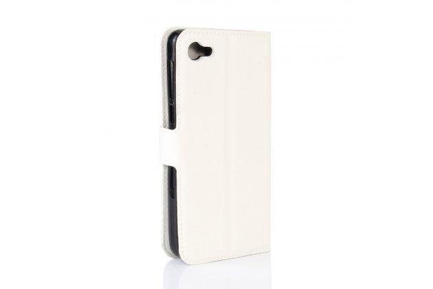 Фирменный чехол-книжка из качественной импортной кожи с подставкой застёжкой и визитницей для Алкатель A5 Лед 5058Д / 5085У 5.2 белый