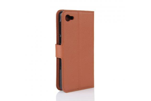 Фирменный чехол-книжка из качественной импортной кожи с подставкой застёжкой и визитницей для Алкатель A5 Лед 5058Д / 5085У 5.2 коричневый