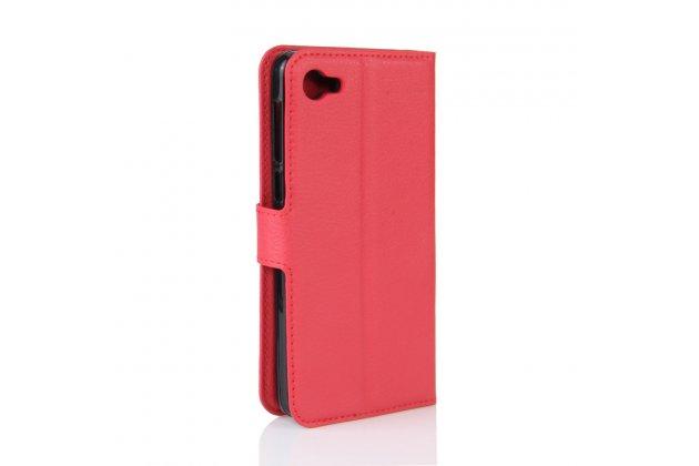 Фирменный чехол-книжка из качественной импортной кожи с подставкой застёжкой и визитницей для Алкатель A5 Лед 5058Д / 5085У 5.2 красный