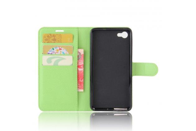 Фирменный чехол-книжка из качественной импортной кожи с подставкой застёжкой и визитницей для Алкатель A5 Лед 5058Д / 5085У 5.2 зеленый