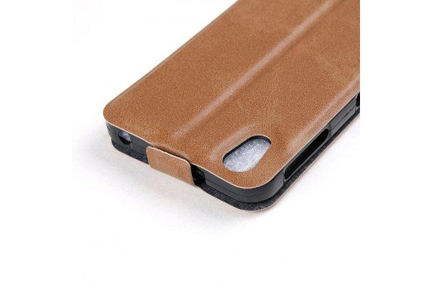 Фирменный оригинальный вертикальный откидной чехол-флип для Alcatel IDOL 4 6055K 5.2 / Idol 4 5.2 коричневый из натуральной кожи Prestige