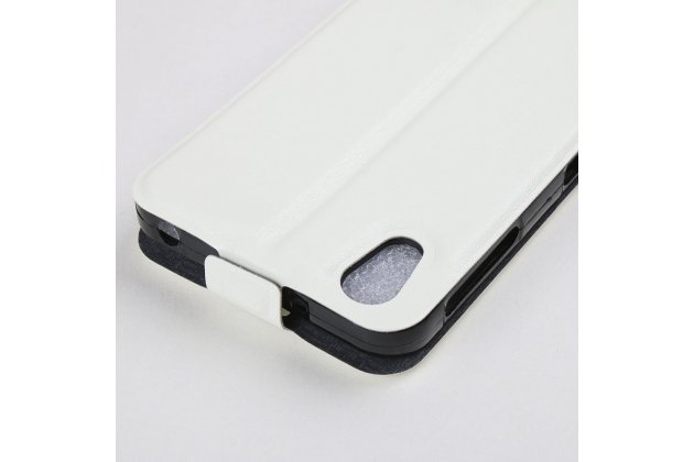 Фирменный оригинальный вертикальный откидной чехол-флип для Alcatel IDOL 4 6055K 5.2 / Idol 4 5.2 белый из натуральной кожи Prestige