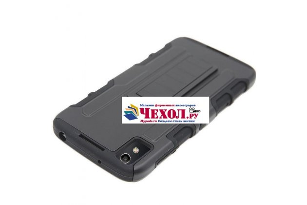 Противоударный усиленный ударопрочный фирменный чехол-бампер-пенал для Alcatel IDOL 4 6055K 5.2 / Idol 4 5.2 черный