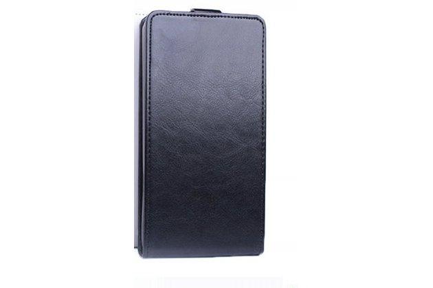 Фирменный оригинальный вертикальный откидной чехол-флип для Alcatel Idol 5 6058D черный из натуральной кожи Prestige