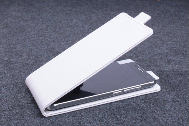 Фирменный оригинальный вертикальный откидной чехол-флип для Alcatel Idol 5 6058D белый из натуральной кожи Prestige