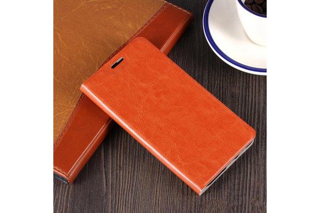 Фирменный чехол-книжка из качественной импортной кожи с мульти-подставкой и визитницей для Alcatel Idol 5 6058D коричневый