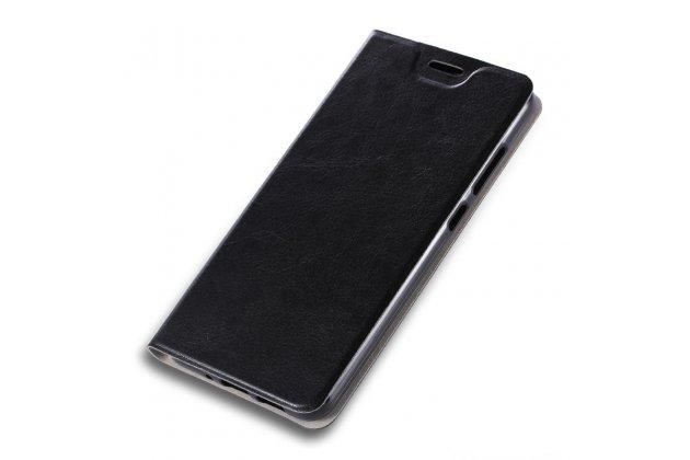 Фирменный чехол-книжка из качественной импортной кожи с мульти-подставкой и визитницей для Alcatel Idol 5 6058D черный