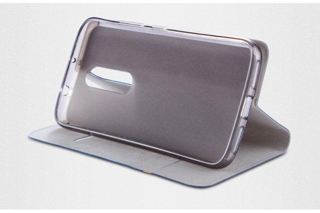 Фирменный чехол-книжка с визитницей и мультиподставкой на жёсткой металлической основе для Alcatel Idol 5 6058D серый из настоящей джинсы