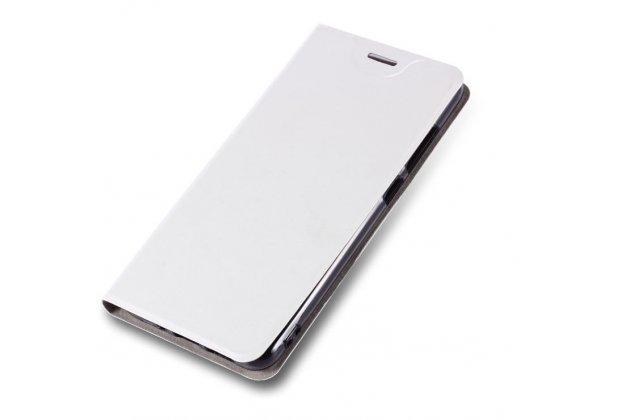 Фирменный чехол-книжка из качественной импортной кожи с мульти-подставкой и визитницей для Alcatel Idol 5 6058D белый