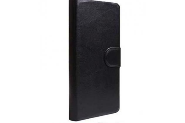 Фирменный чехол-книжка  из качественной импортной кожи с застёжкой и мультиподставкой для Alcatel Idol 5 6058D черный